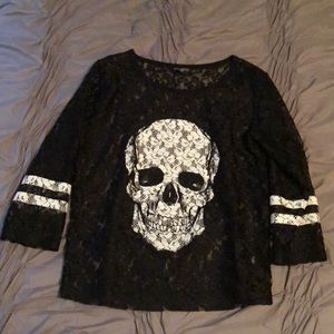 Express lace skull print top